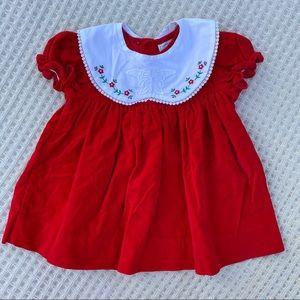 Vintage red velvet dress w/detachable bib collar